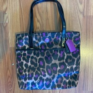 Coach ocelot print, brown purple & black tote.